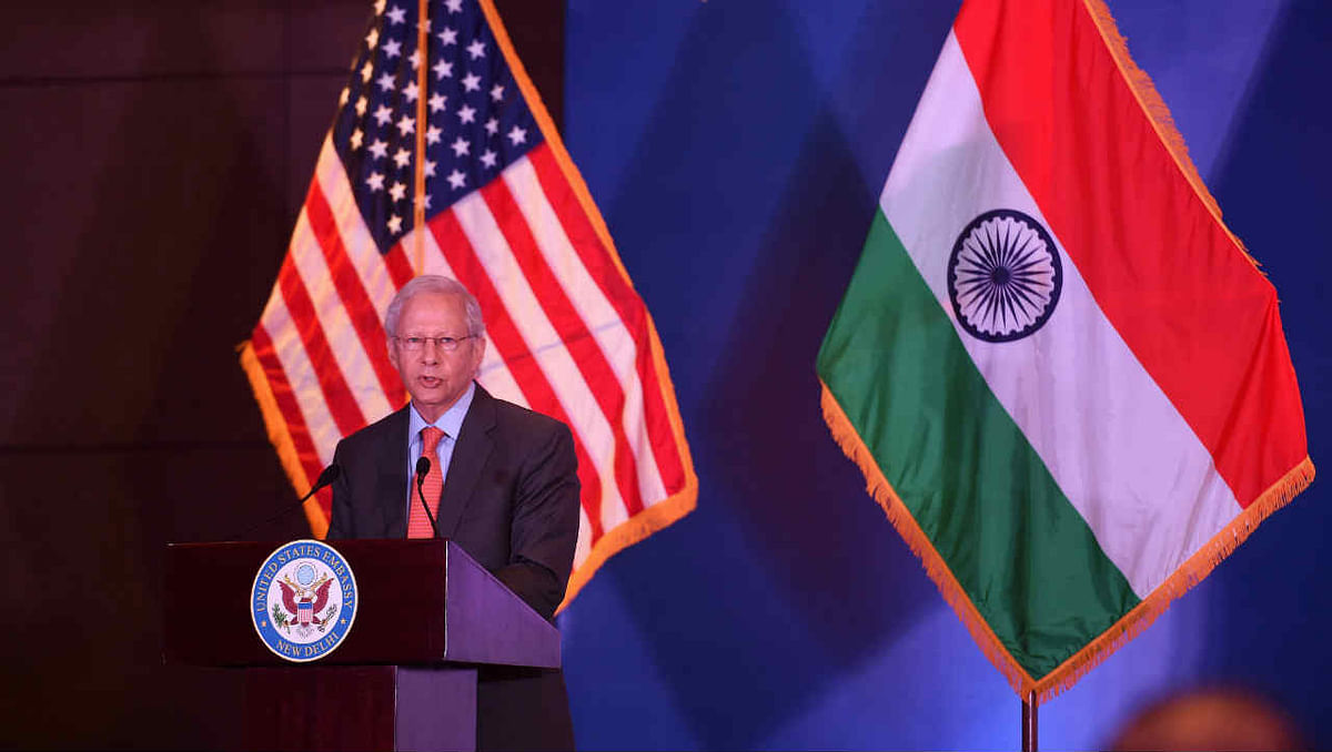 U.S. Ambassador to India Kenneth I. Juster delivers a farewell policy address on the US-India partnership, in New Delhi, Tuesday, Jan. 5, 2021