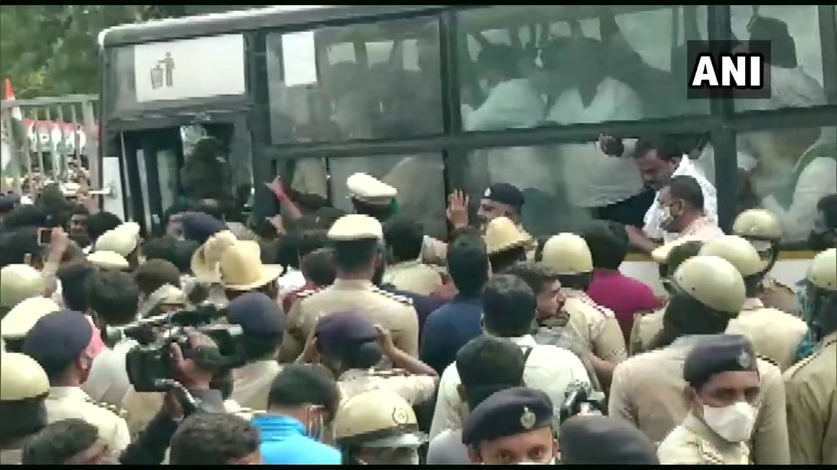 Congress leaders DK Shivkumar, Siddaramaiah and others detained in Bengaluru amid protest against Farm Laws