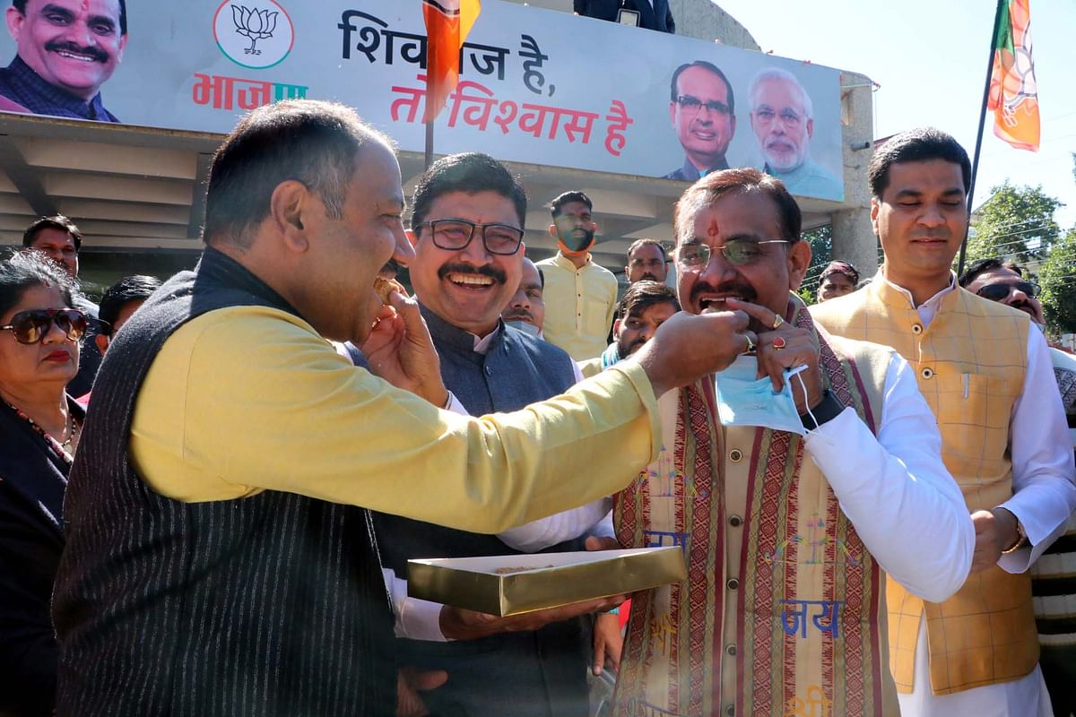 BJP leaders including state party chief VD Sharma celebrate Makar Sankranti festival at BJP office in Bhopal on Thursday.