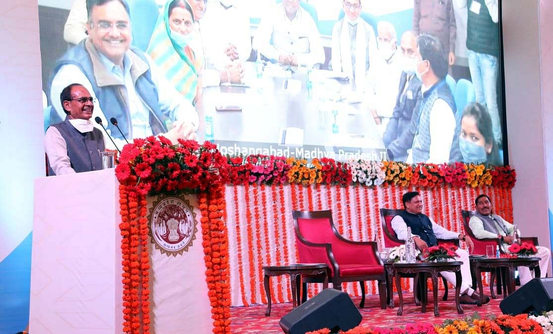 Chief Minister Shivraj Singh Chouhan addresses an online function held to celebrate 10 years of completion of the Public Services Guarantee Act at Minto Hall on Monday.
