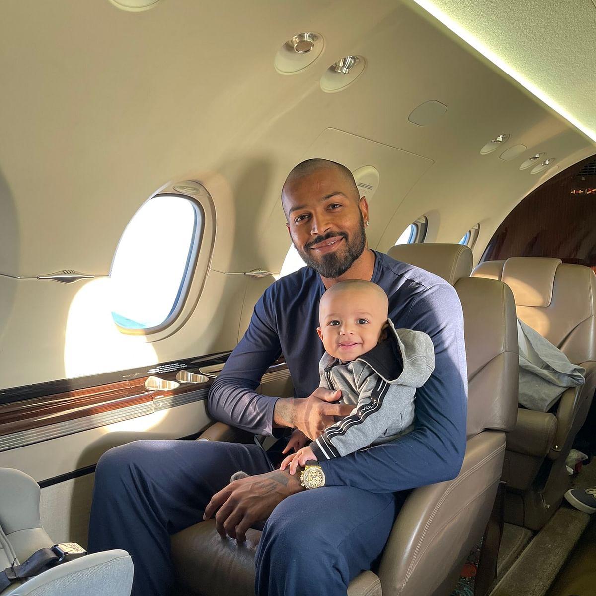 My boy's first flight: Hardik Pandya shares photo with son Agastya