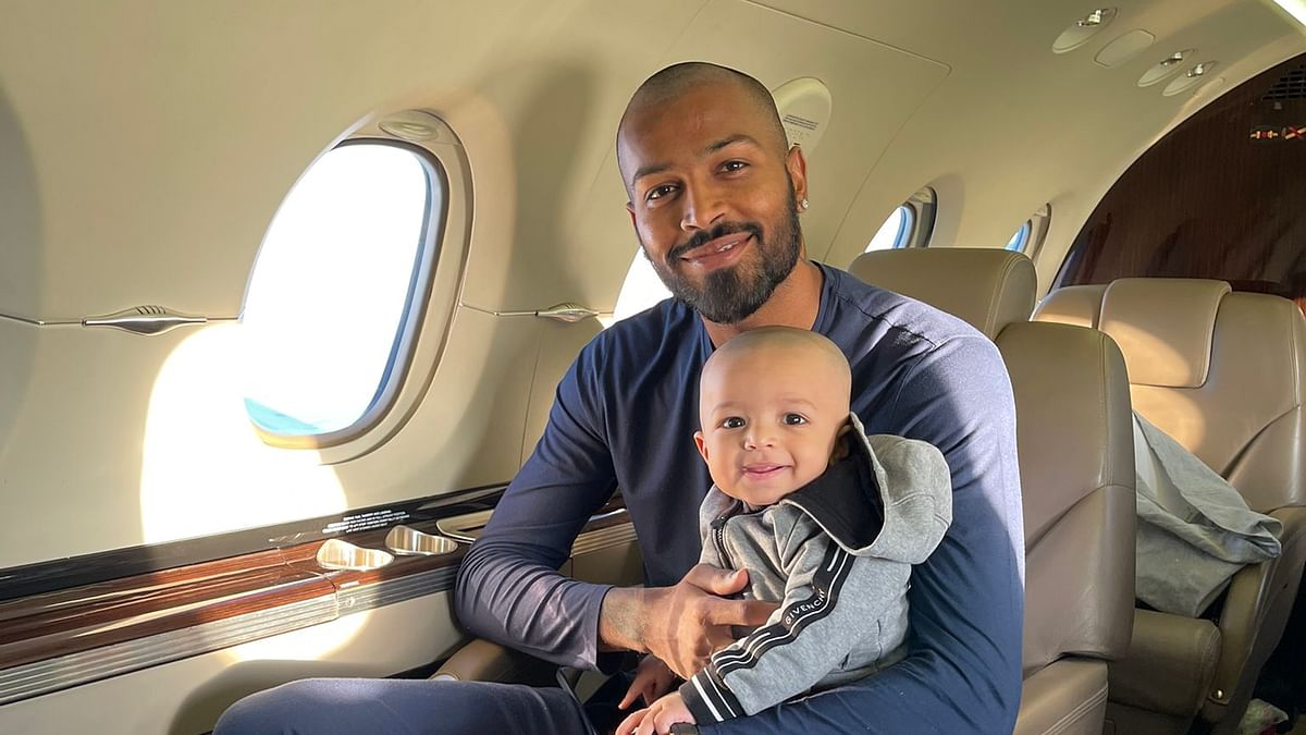 My boy's first flight: Hardik Pandya shares photo with son Agastya