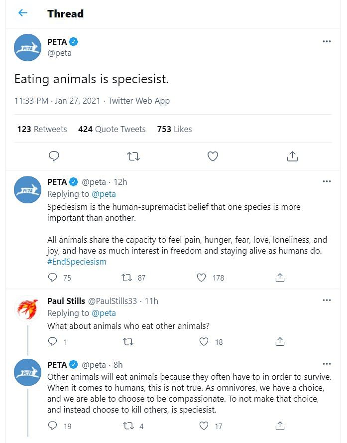'Eating animals is speciesist' says PETA; Twitter users respond with photos of their meals
