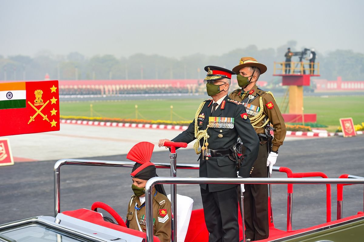 Chief of Army Staff Gen Manoj Mukund Naravane inspects the guard of honour during the 73rd Army Day Parade, at Parade Ground in New Delhi, Friday, Jan. 15, 2021.