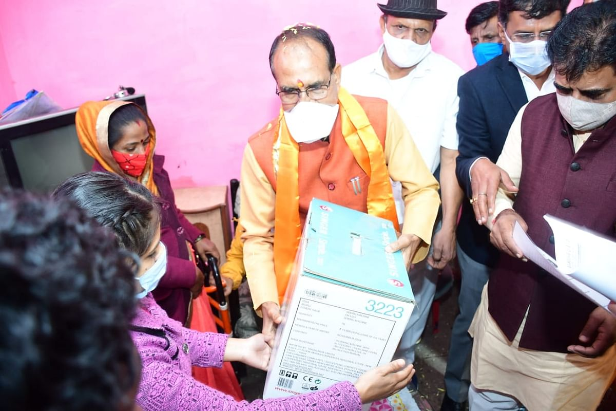 Chief minister Shivraj Singh Chouhan in Panchsheel Nagar in Indore on Friday