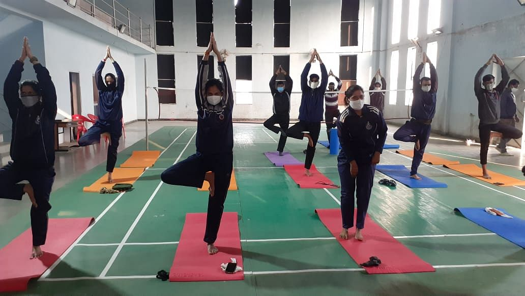 Cops practise Psychology Yoga at PHQ in Ujjain on Saturday