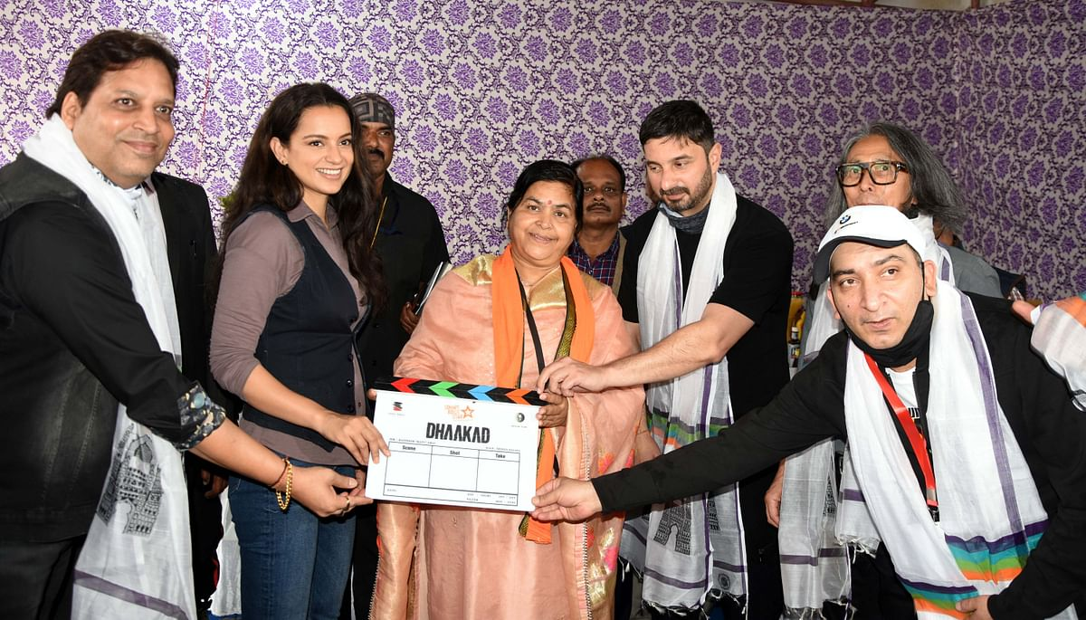 Culture and tourism minister Usha Thakur give the inaugural clap for shooting of 'Dhaaakad' at Hamid Manzil on Saturday.