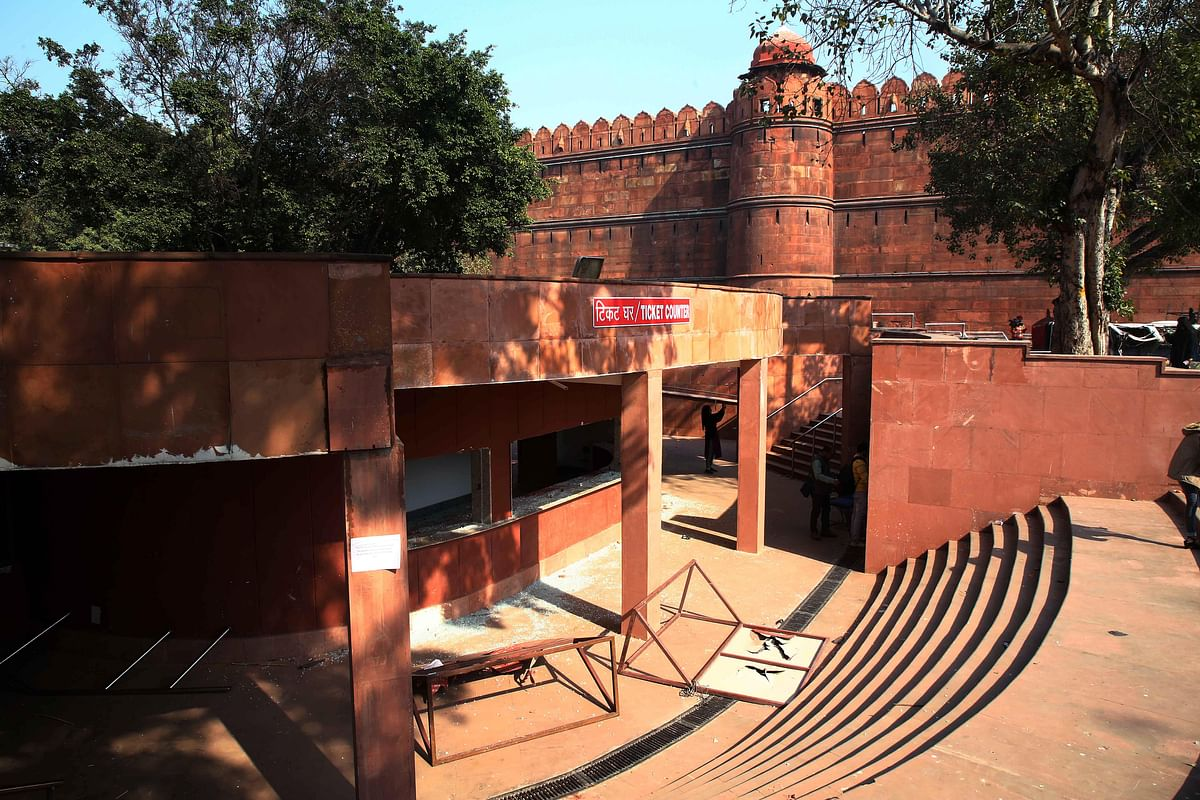 Vandalised ticket counter of Red Fort seen after the tractor rally, in New Delhi on Wednesday.