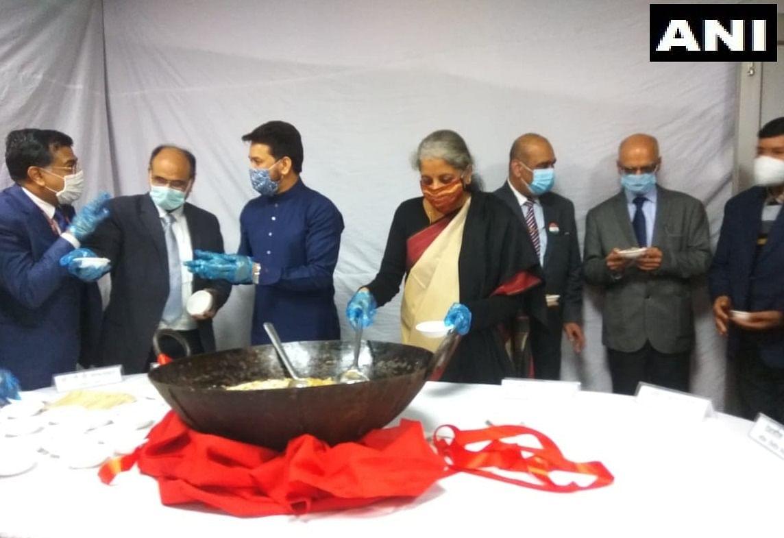 Budget 2021: Finance Ministry holds Halwa Ceremony; Nirmala Sitharaman, Anurag Thakur present