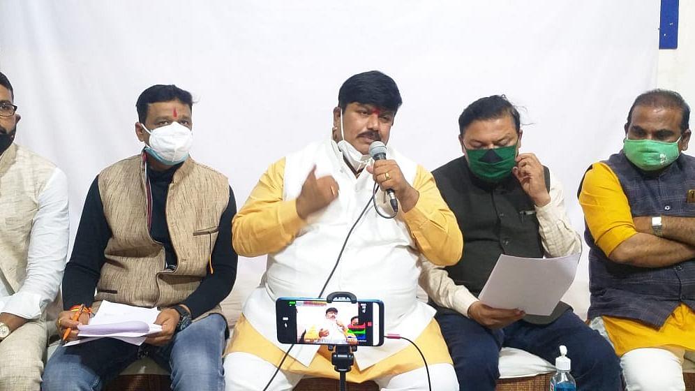 Member of parliament  Firojia addresses a press meet in Ujjain on Saturday