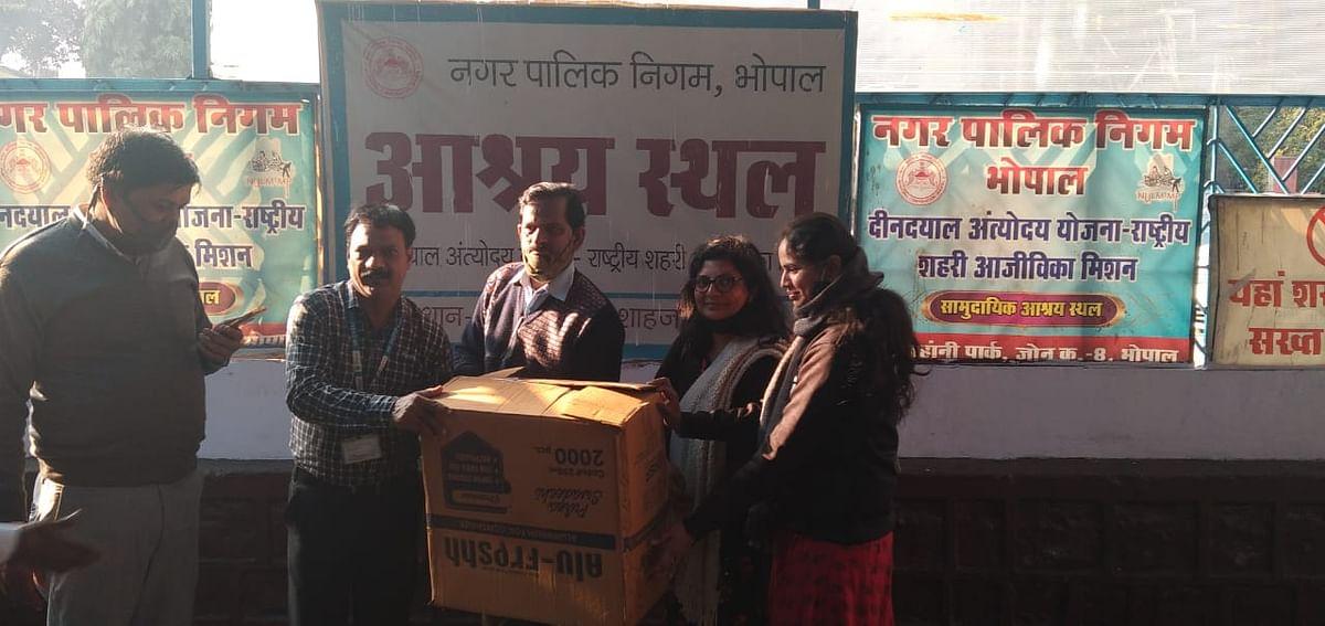 Madhya Pradesh: Bhopal School of Social Sciences donates warm clothes to needy