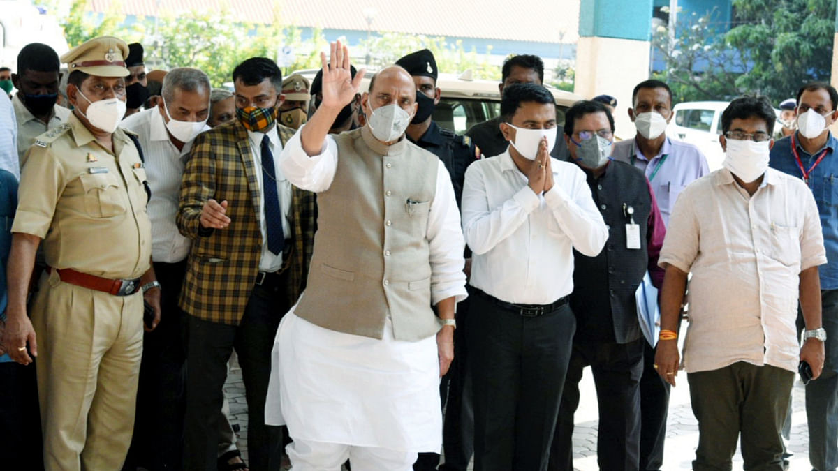 Defence Minister Rajnath Singh speaks to Goa Chief Minister Dr. Pramod Sawant after meeting with the ailing Union Minister Shripad Naik at Goa Medical College and Hospital in Bambolim on Tuesday.