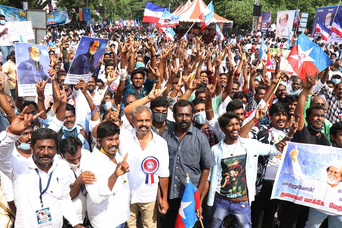 Tamil Nadu, Jan 10 (ANI): Fans and Supporters of actor Rajinikanth stage a demonstration demanding him to join politics, in Chennai on Sunday.