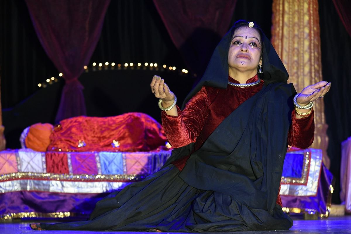A scene from a play 'Deepdaan,' being staged at  Ravindra Bhawan in the city on Saturday.