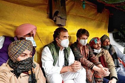 Congress leaders Rahul Gandhi and Priyanka Gandhi Vadra at farmers' protest at Jantar Mantar, Delhi