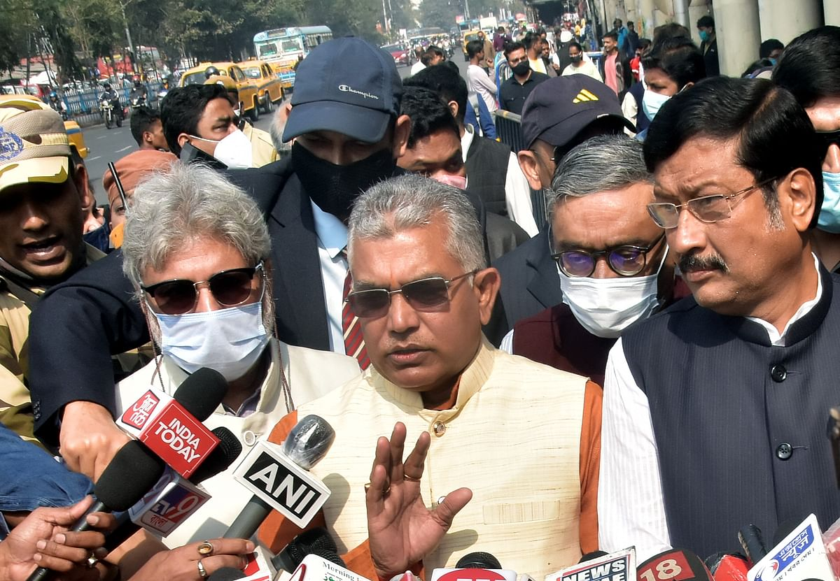 West Bengal, Jan 21 (ANI): West Bengal BJP State President Dilip Ghosh speaks to media after a meeting after meeting EC officials, in Kolkata on Thursday.