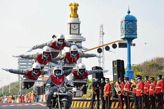 Cadets of Tamil Nadu Police performs a Acrobatic stunt during  a full dress rehearsal ahead of Republic Day parade, in Chennai on Sunday.