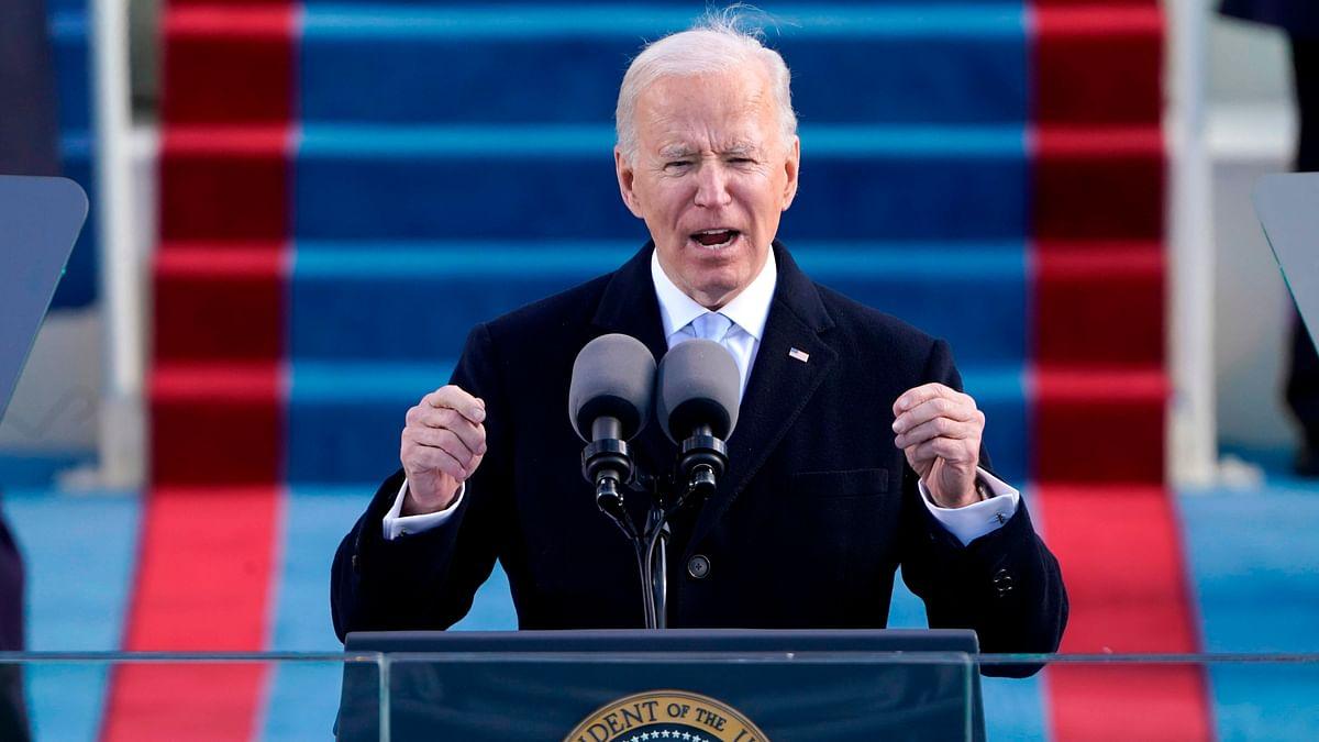 US President Joe Biden speaks after being sworn in as the 46th President of the US