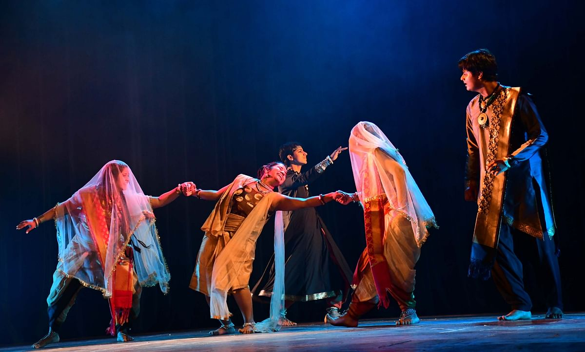 (A scene from a play 'Kamayani,' being staged at Ravindra Bhawan  in the city on Sunday)