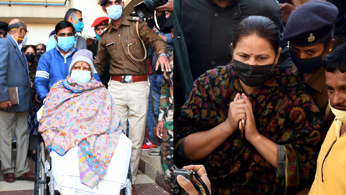 Rajya Sabha MP of Bihar and daughter of RJD Supremo Lalu Prasad Yadav Misa Bharti (R) to meet her father (L), at RIMs Hospital in Ranchi on Friday.