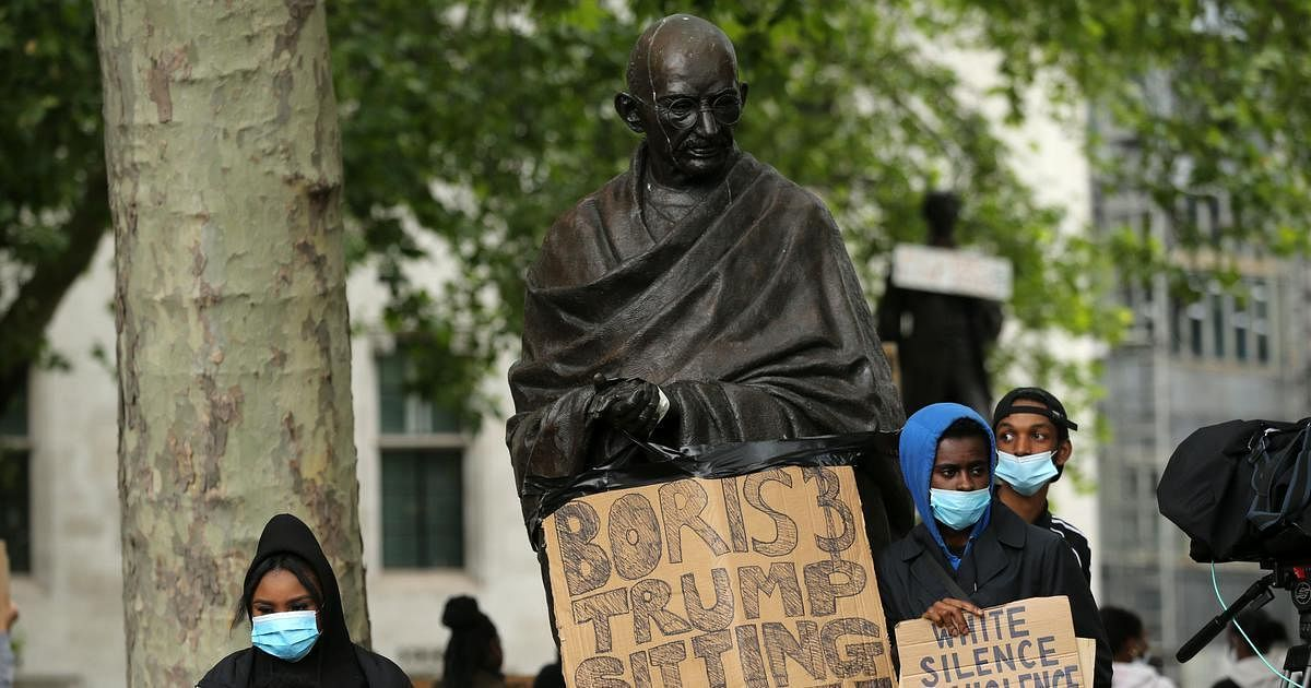 Gandhi statue uprooted from Parliament House complex