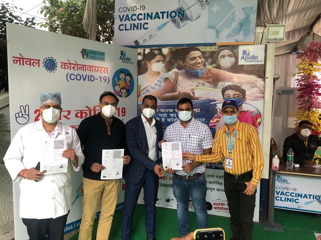 Vaccination drive at Apollo hospital in Indore on Monday