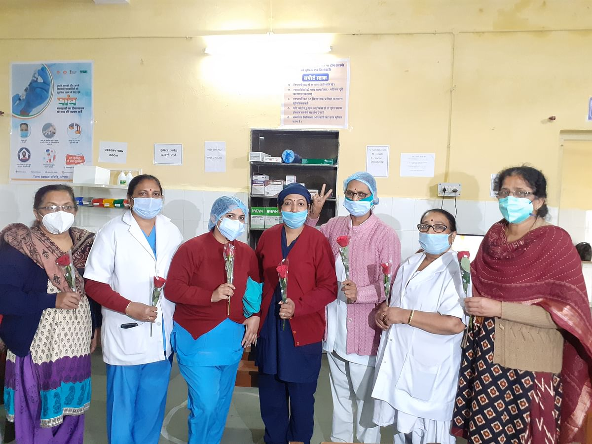 Nurses at Sultania Zanana Hospital in the city after vaccination on Saturday.