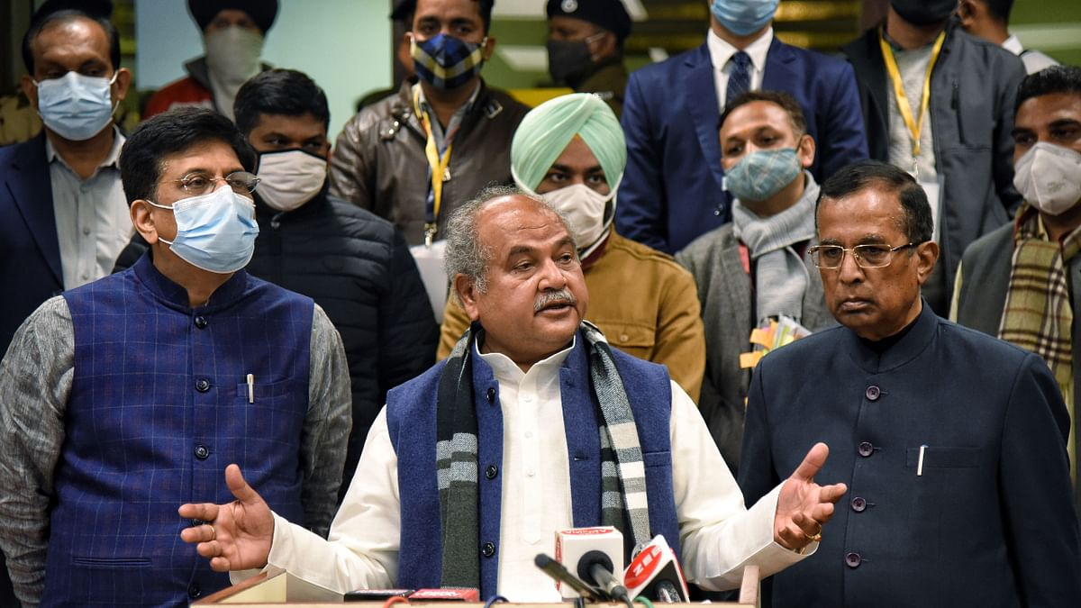 Union Agriculture Minister Narendra Singh Tomar addresses media after the meeting with farmer leaders over farm laws, at Vigyan Bhawan in New Delhi on Wednesday. Union Ministers Piyush Goyal and Som Parkash also seen.