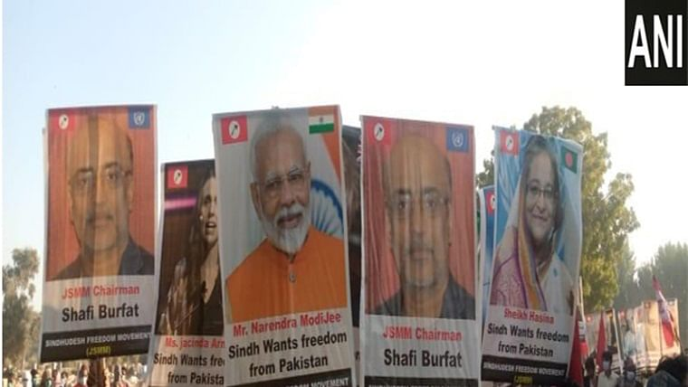 Placards of PM Modi, other world leaders raised at pro-freedom rally in Pakistan's Sindh