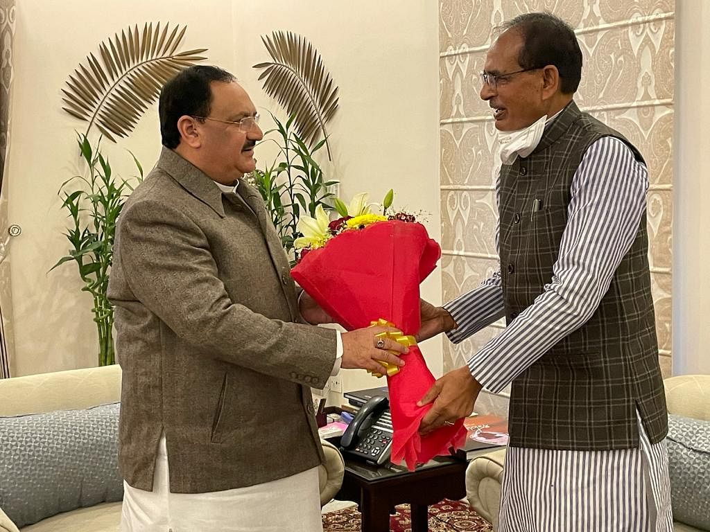 Chief Minister Shivraj Singh Chauhan calls on BJP national president JP Nadda in New Delhi on Friday.