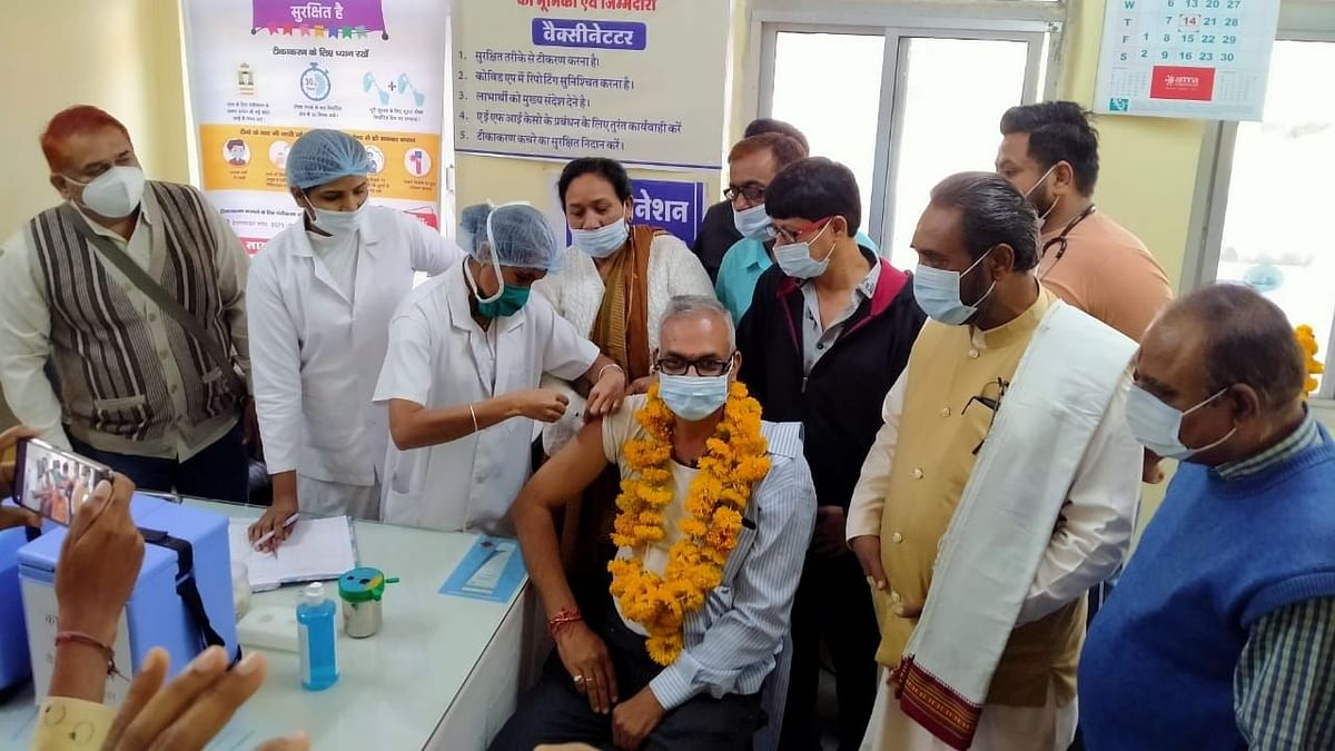 Vaccination in progress at various health centres in Khargone on Monday