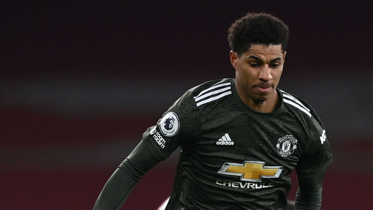Manchester Uniteds English striker Marcus Rashford during the English Premier League football match between Arsenal and Manchester United at the Emirates Stadium in London on January 30, 2021.