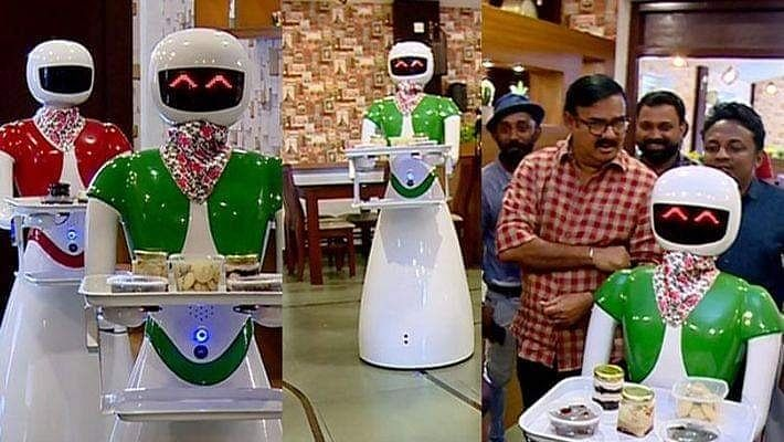 Robot servers at a Kerala restaurant