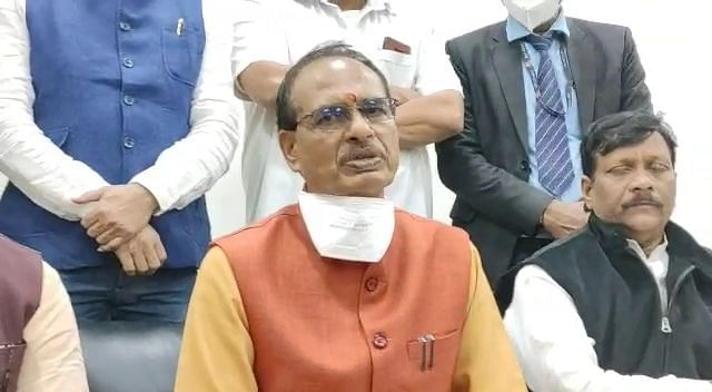 Chief minister Shivraj Singh Chouhan talking to media in Indore on Friday