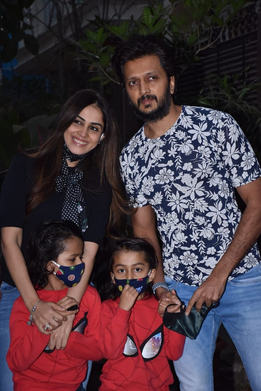 Riteish Deshmukh with wife Genelia and kids Riaan and  Rahyl Deshmukh