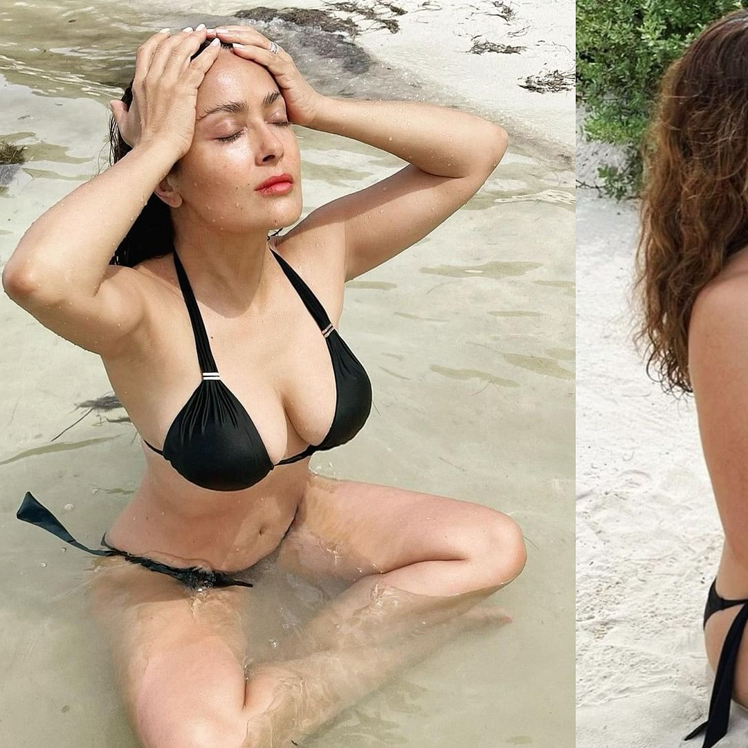 Hot! Salma Hayek, 54, meditates on the beach in a skimpy black bikini