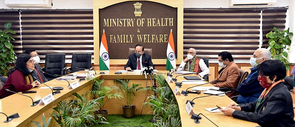 Union Minister for Health & Family Welfare, Science & Technology and Earth Sciences, Dr  Harsh Vardhan virtually releasing the creatives on Vaccine Hesitancy from Nirman Bhawan, in New Delhi on Thursday.