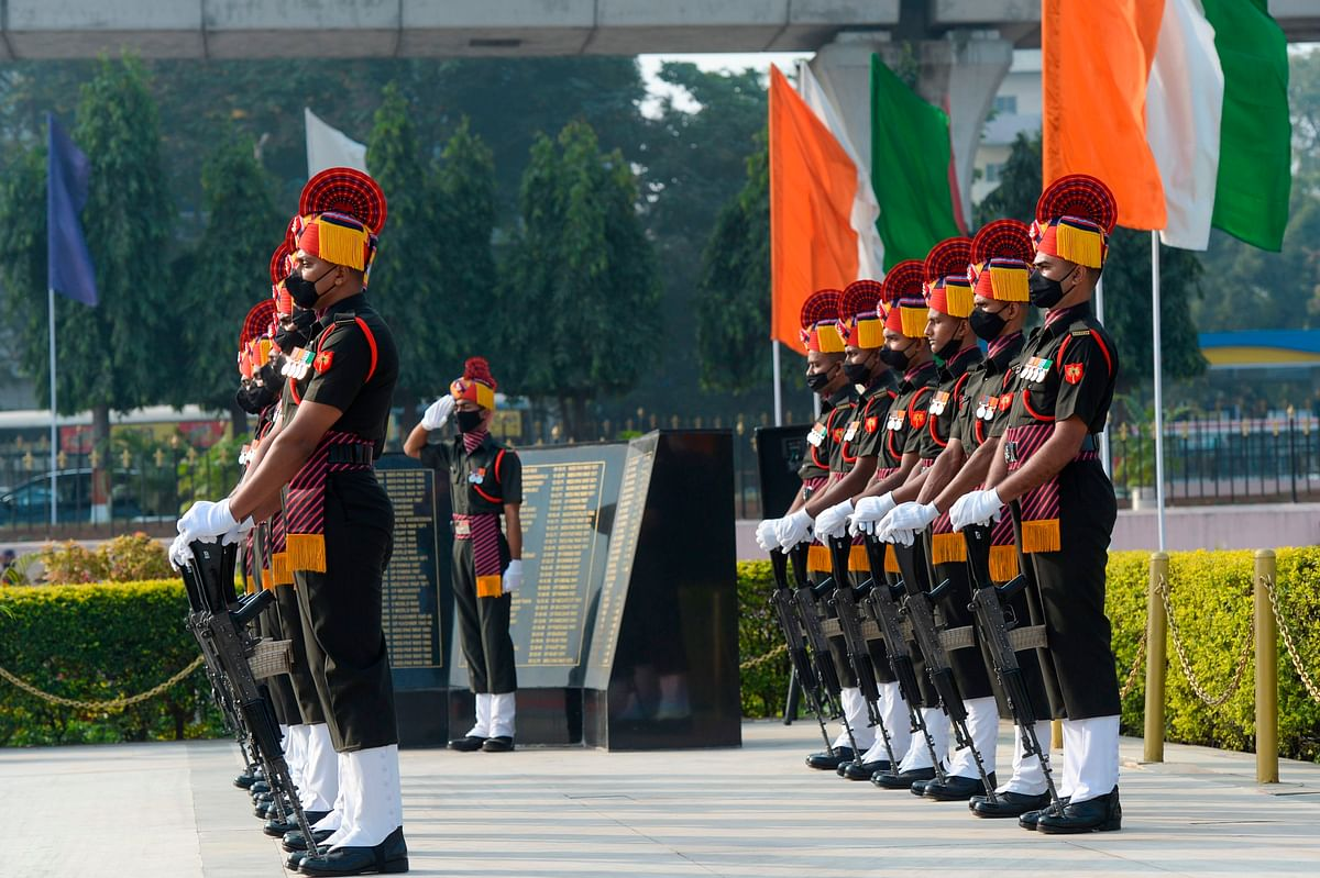 Army soldiers pay their tribute at a martyrs memorial to mark India's 73rd Army Day in Secunderabad, the twin city of Hyderabad, on January 15, 2021.