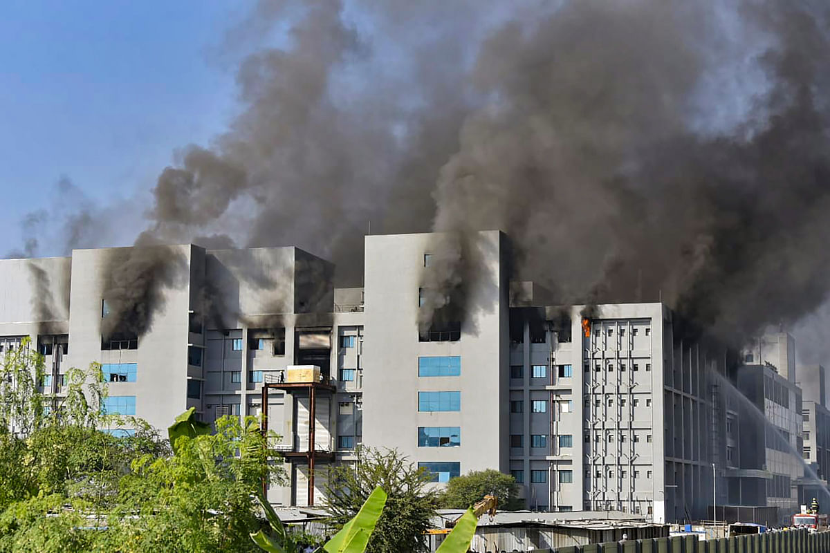 Pune: Smoke billows out after a massive fire broke out at the Serum Institute of India, in Pune, Thursday, Jan. 21, 2021. The facility had rolled out its Covishield vaccine for the first phase of COVID vaccination drive that began on Jan 16