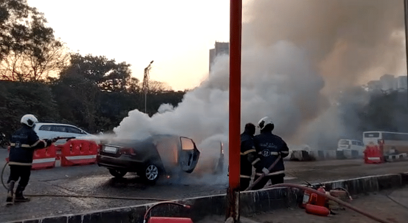 Thane: Moving car catches fire on Eastern Expressway