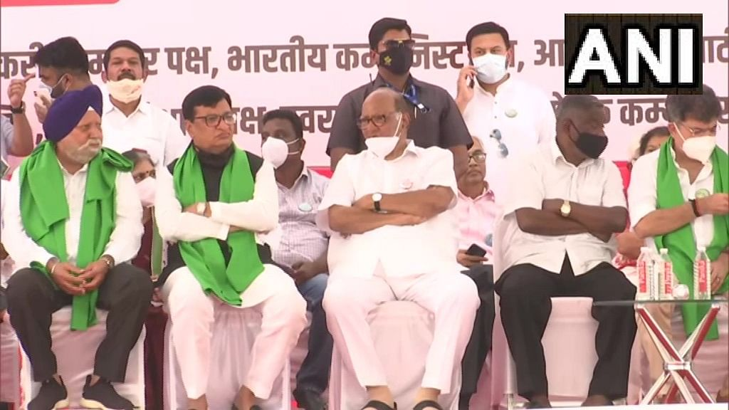 Mumbai: NCP chief Sharad Pawar, Congress' Balasaheb Thorat join farmers protest at Azad Maidan