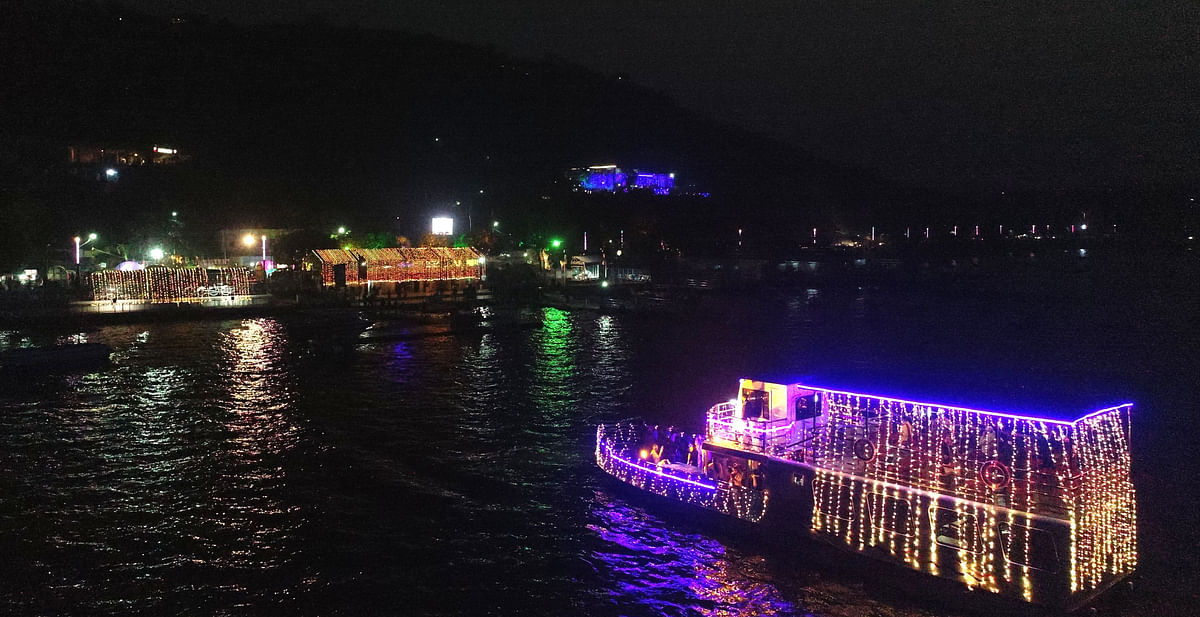 A Ferry Boat decorated with lights on the occasion of New Year 2021, in the Upper Lake in Bhopal on Thursday.