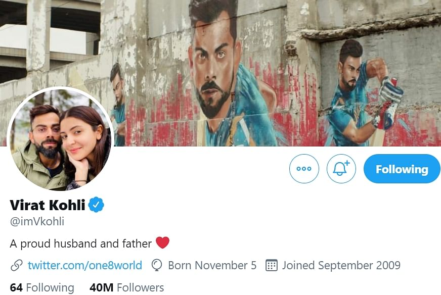 Doting dad Virat Kohli changes Twitter bio following birth of daughter, here's what it reads now