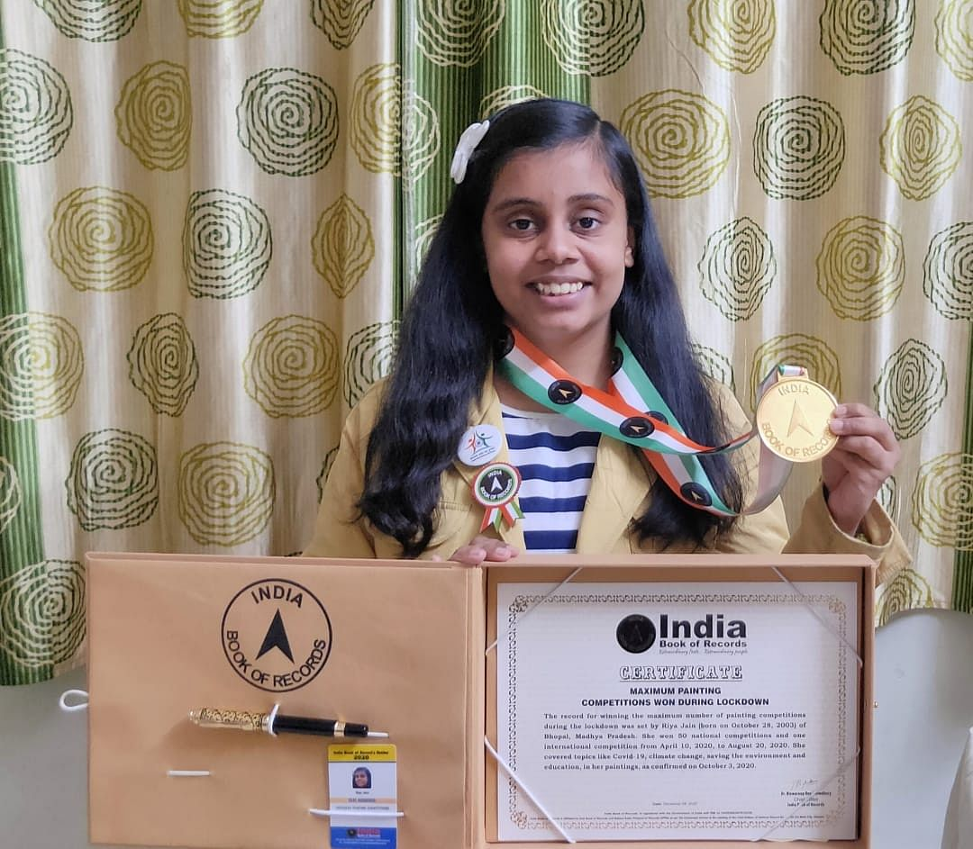 Madhya Pradesh: Bhopal's young painter Riya Jain enters India Book of Records for winning maximum painting contests during lockdown