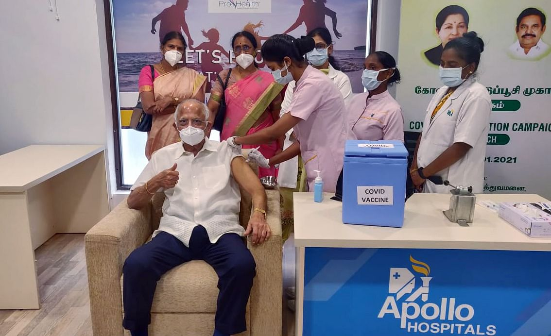 Dr Prathap C.Reddy, Chairman, Apollo Hospitals Group receives the first dose of COVID-19 vaccine during the 1st phase of vaccination drive at Apollo Hospitals, in Chennai on Saturday.