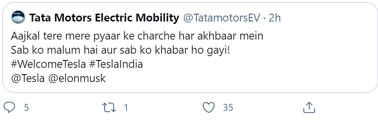 Tata Motors' now-deleted tweet sparks rumours of Tesla tie-up