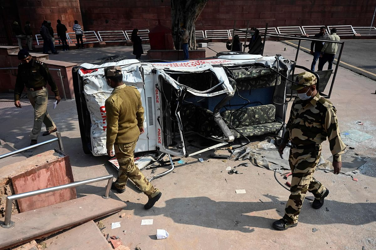 Vandalised metal detectors, uprooted railings, and damaged CCTV: Photos show the aftermath of violence at Red Fort