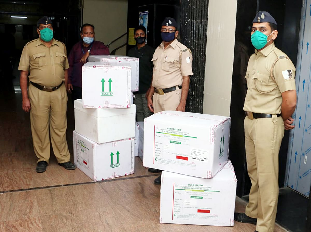 Maharashtra, Jan 13 (ANI): The first consignment of Covishield by Serum Institute of India arrived, in Mumbai on Wednesday.