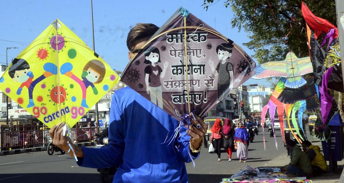 Kites with messages on corona  flood market ahead of  Makar Sankranti in Bhopal