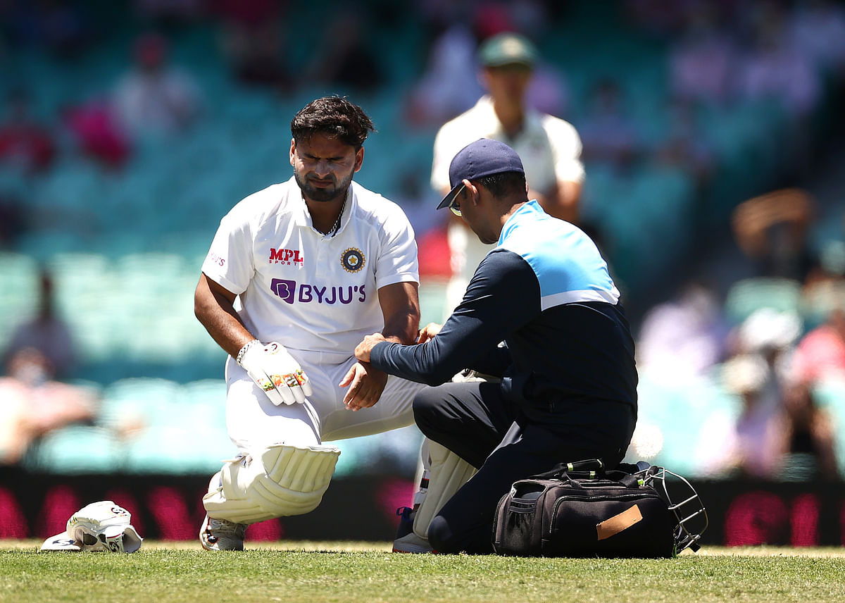 Rishabh Pant was hit on the left elbow while batting in the second session on Saturday